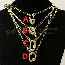 3 Pcs  Spiral Clasp Zircon pendant necklace gold color metal Punk necklace High quality wholesale jewelry Chain necklace 50320