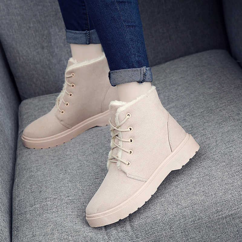 2019 г. Зимние ботинки модные теплые однотонные классические женские ботильоны с плюшевой подкладкой Нескользящие кроссовки с амортизацией, с круглым носком, с перекрестной шнуровкой botas mujer