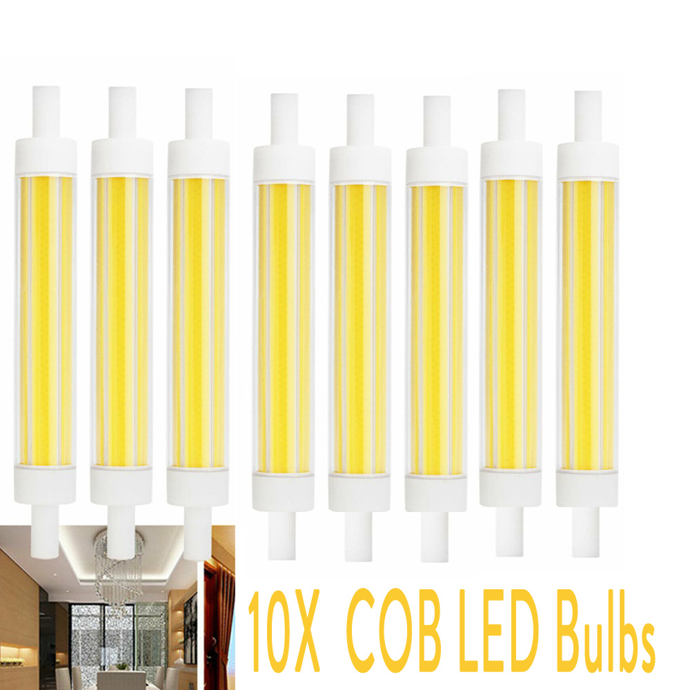10X Dimmable Ampoule <font><b>R7S</b></font> <font><b>LED</b></font> COB Bulb Floodlight 15W 220V J118 <font><b>118mm</b></font> 220V Ceramic Replace Halogen Spotlight Glass Lamp <font><b>Bombillas</b></font> image