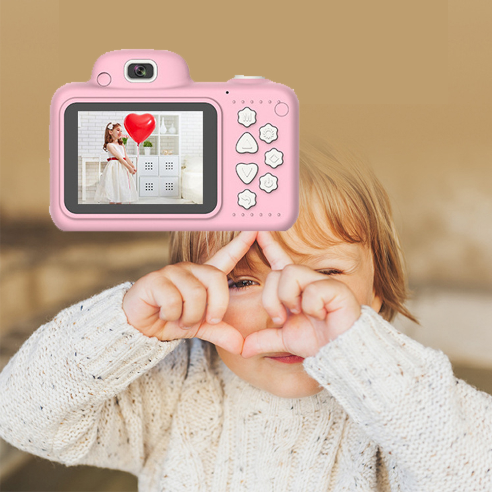 Kids Camera DSLR Digital Dual Lens Video With Memory Card Camcorder ABS 2.4 Inch Screen Cartoon Shockproof Mini #