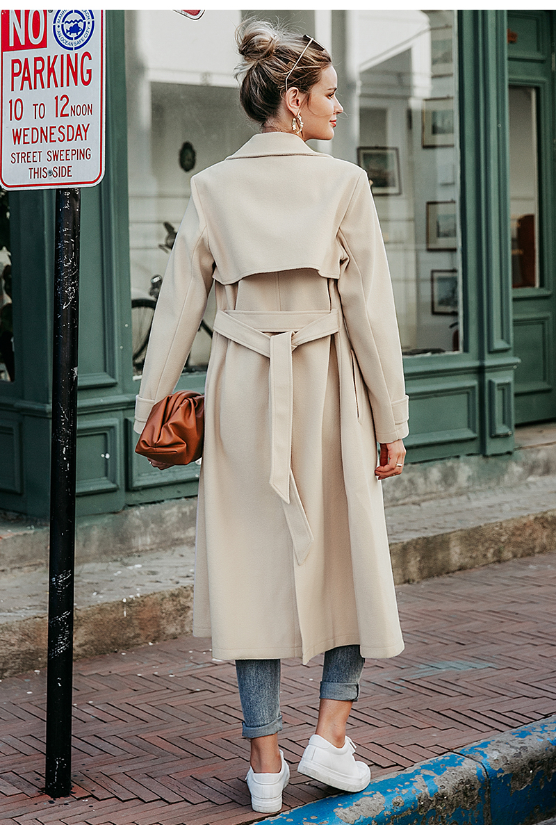 winter wool-women-long sleeve elegant-female-autumn and winter coat