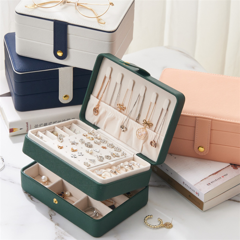 XINSOM Jewelry Organizer Portable Necklace Earrings Rings Jewelry Box Packaging PU Leather Storage Joyeros Organizador De Joyas