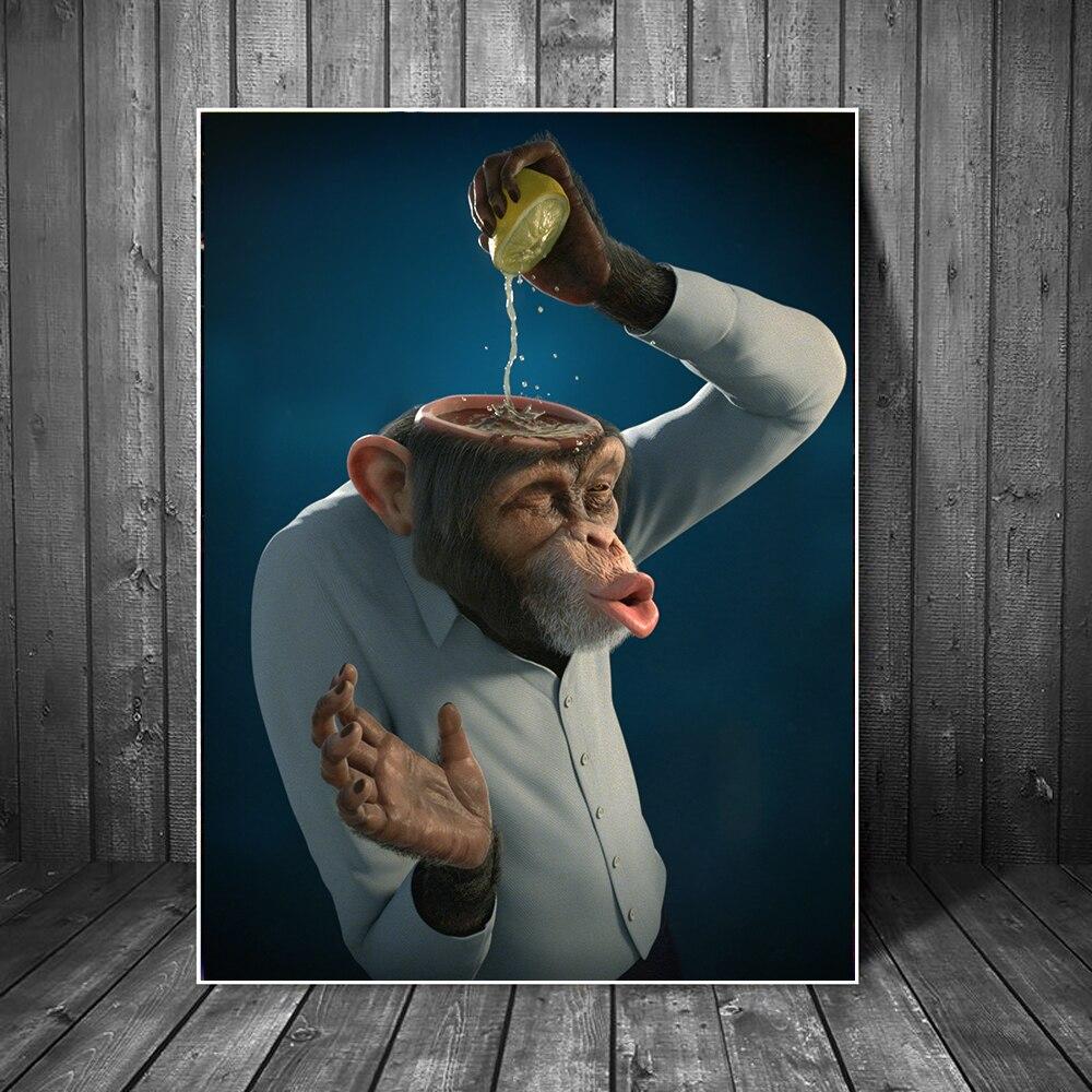 Купить забавный абстрактный холст с изображением обезьяны лимонного