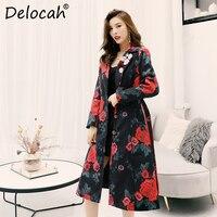 Delocah 2019 Autumn Winter Women Coat Runway Fashion Designer Long Sleeve Gorgeous Appliques Floral Printed Slim Lady Overcoat