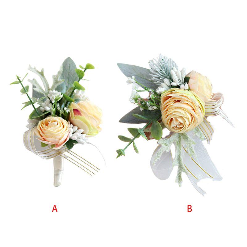 Искусственный градиент пион поддельные Ягоды Свадебные винтажные бутоньерки на запястье корсаж