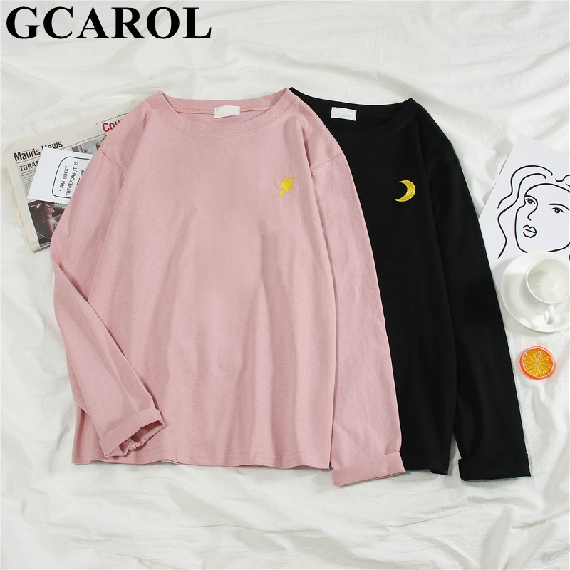 GCAROL New Spring Fall Harajuku Women T Shirt Drop Shoulder Appliques Oversize  Render Unlined Upper Garment M-2XL Tops Pullover