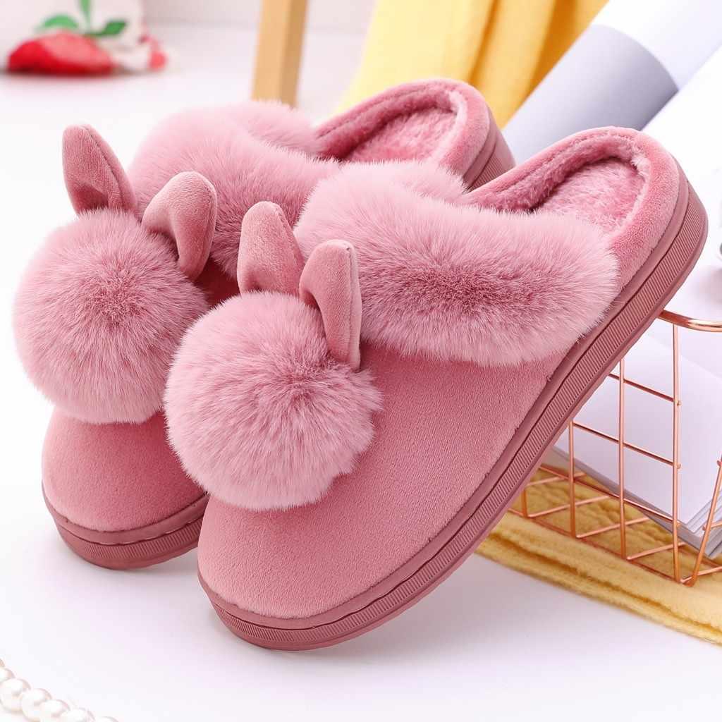 Mulher chinelos sapatos flip flops inverno em casa orelhas de coelho peludo interior chinelos de conforto macio calçado chaussures femme # n25