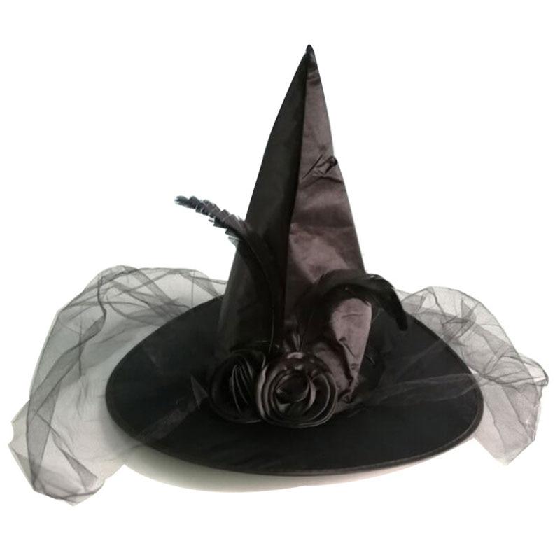 Sombrero de bruja para adultos y niños, Cosplay, decoración de malla, accesorios de Cosplay