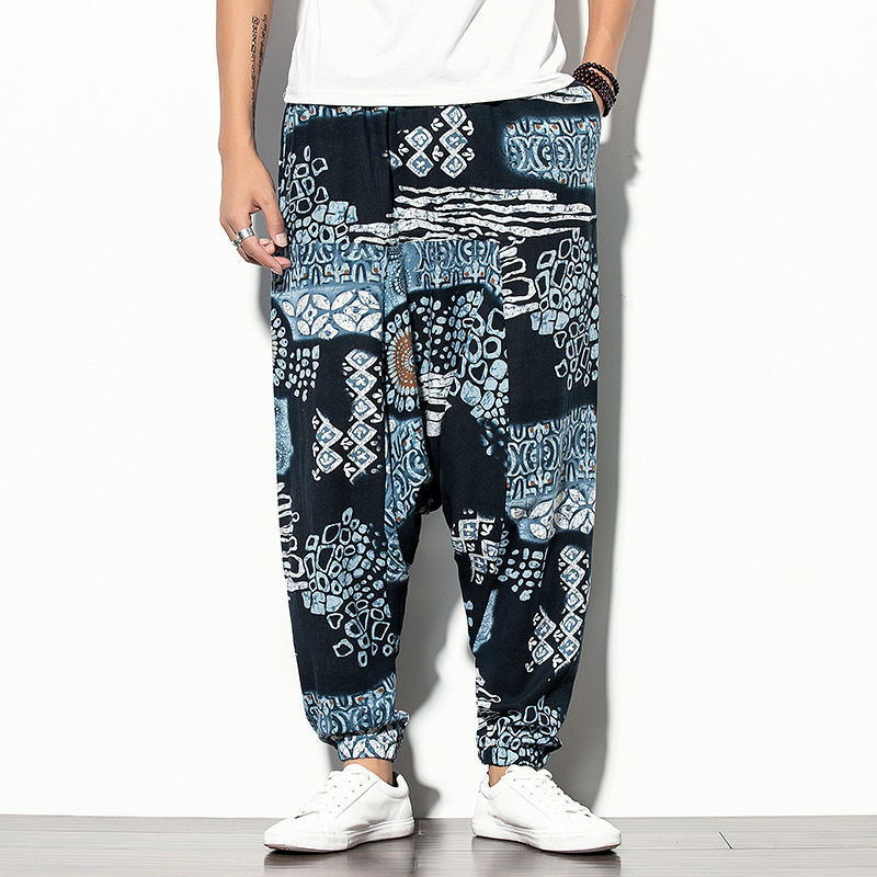 Clothing Store Autumn And Winter Men Ethnic-Style Casual Trousers Loose-Fit Printed Bouquet Feet Harem Pants Sub-BOY'S