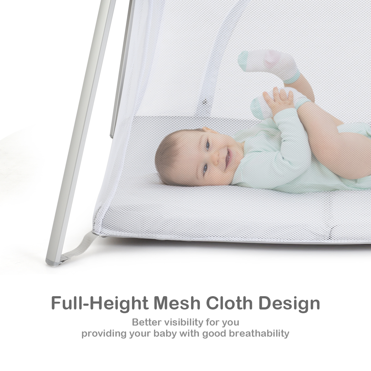 Foldable Baby Playpen Infant Lightweight Crib Mesh with Carry Bag Home Gray