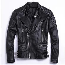 Moto Biker Style Plus Size Soft Sheepskin Jackets Mens Genuine Leather