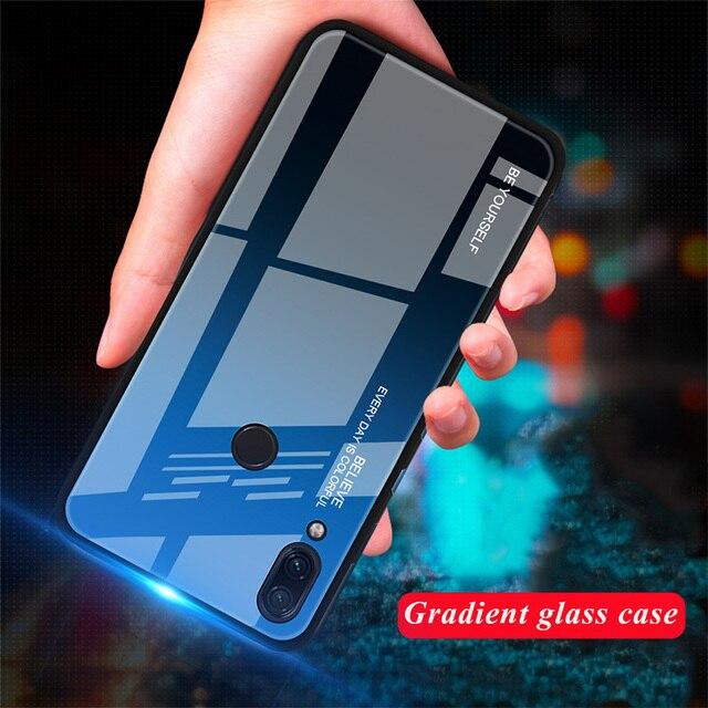Tempered Glass Case for Xiaomi Redmi Note 7 6 K20 Pro Case for Redmi 7 6A 6 Pro 5 Plus Gradient Glossy Colorful Cover Case