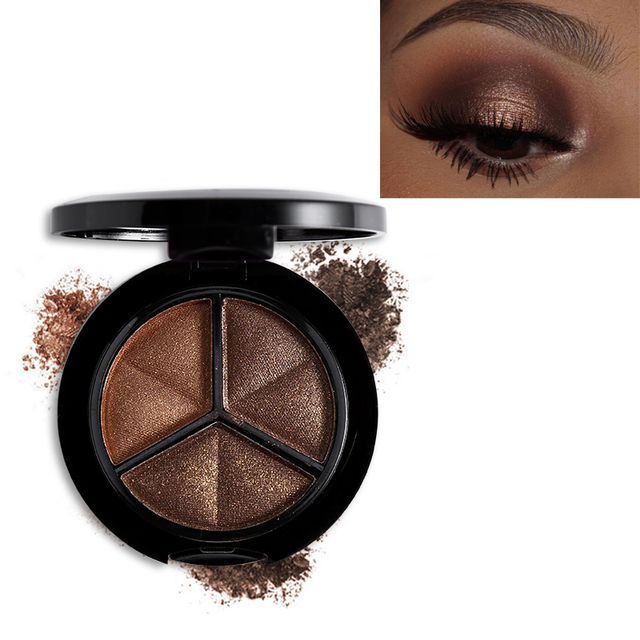 Professional Smoky 3 Colors Eyeshadow Makeup Palette Set Natural Shimmer Glitter Nude Eye Shadow Make Up With Brush & Mirror 4