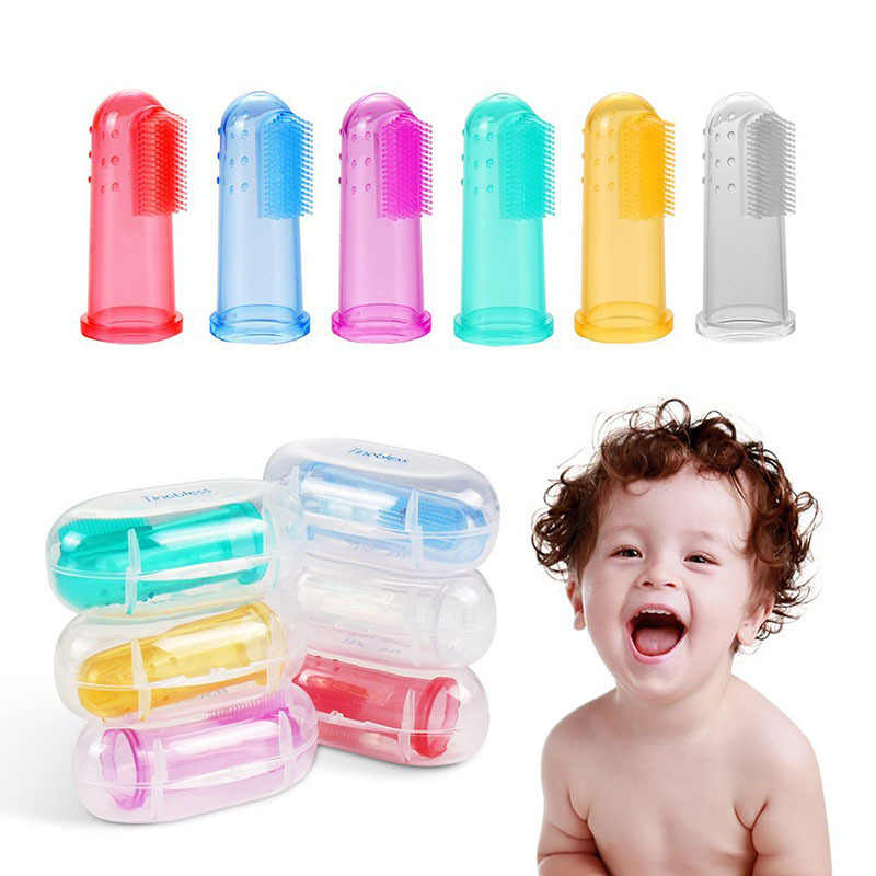 Baby Vinger Tandenborstel Silicon Tandenborstel + Box Kinderen Tanden Clear Soft Silicone Baby Tandenborstel Rubber Schoonmaken Baby Borstel