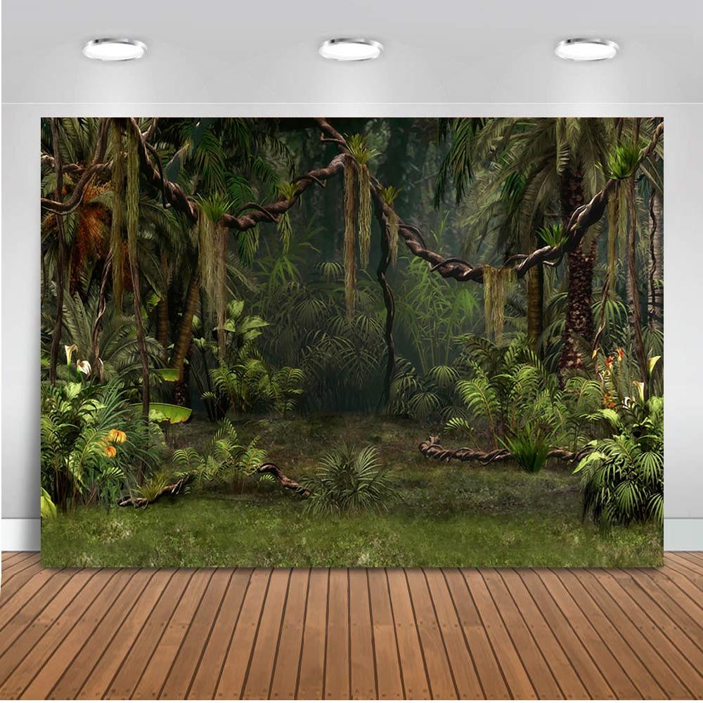Фон для фотосъемки лес джунгли фон для фотостудии украшение для вечерние десерт стол Баннер зеленая пальма