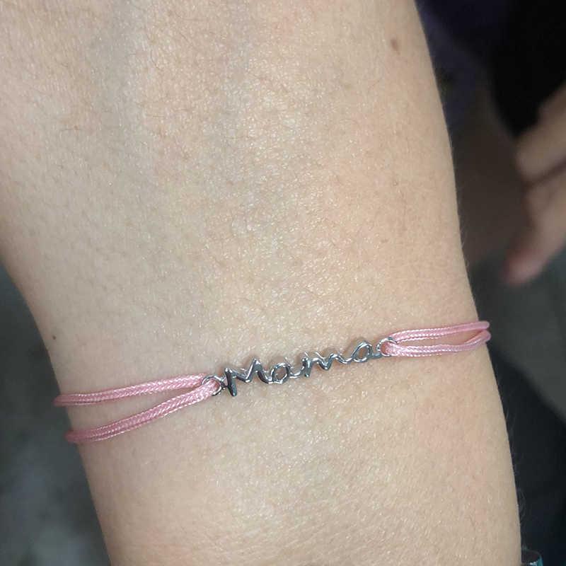 100% เงินแท้ 925 เงินสเตอร์ลิงชื่อ Mama Charm สร้อยข้อมือเชือกสำหรับผู้หญิงใหม่แฟชั่น Jewellry ของขวัญสร้อยข้อมือ