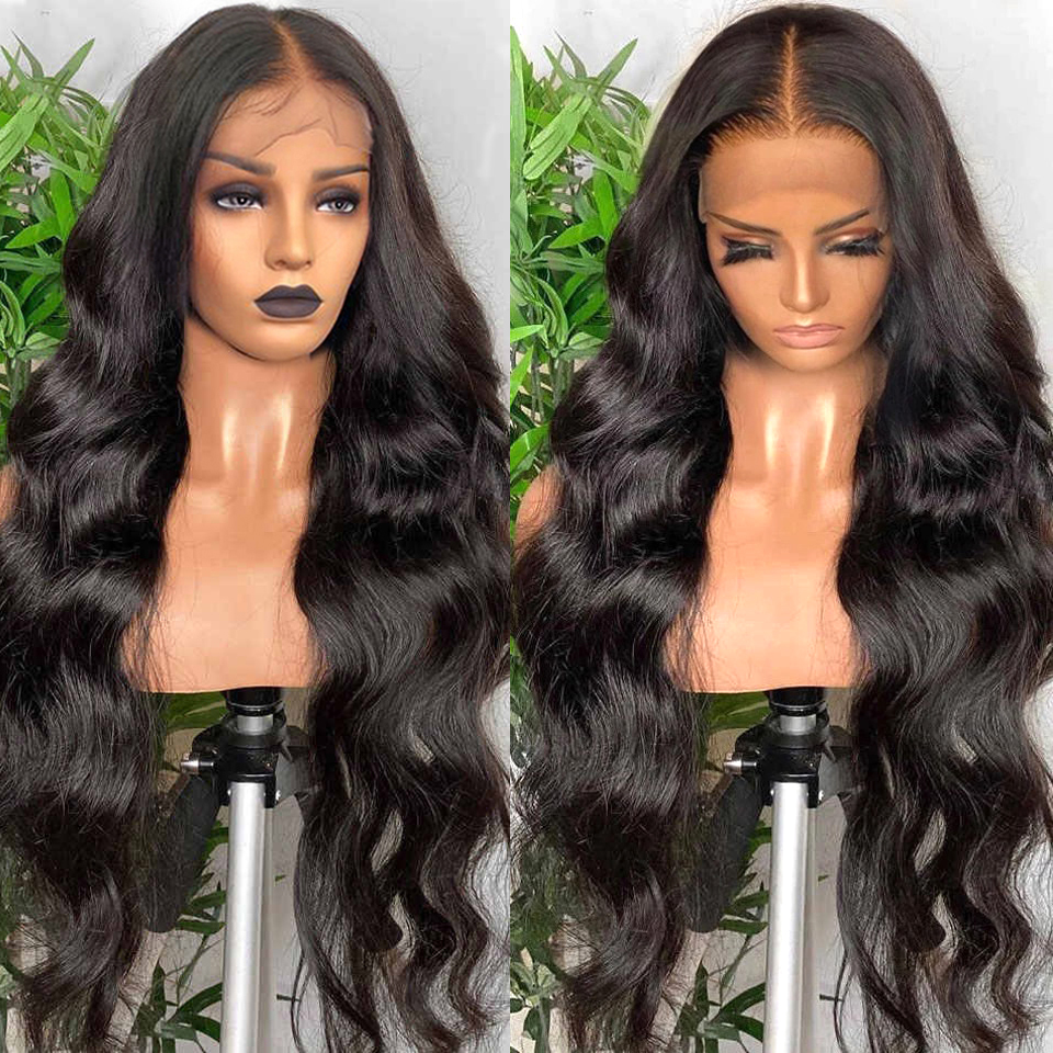 180 Density Brazilian Body Wave Lace Front Wig Transparent Lace Frontal Wigs T PART 32 30 Inch Wavy Lace Front Human Hair Wigs