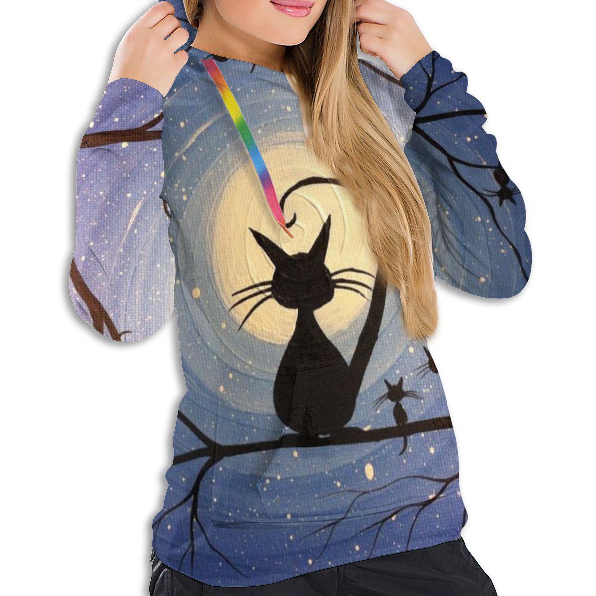 NOISYDESIGNS Fashion Women Casual Simple Sweatshirt Starry Cat Print Hoodie Long Sleeve Comfortable Soft Sweatshirt Blouse New