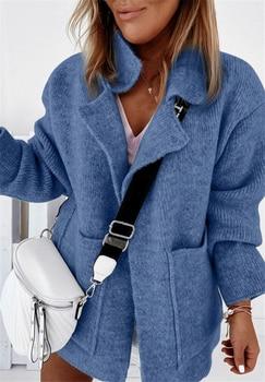 Plus Size Women Sweater 2020 Suit Collar Big Pocket Loose Knit Cardigan Sweater Women Jacket 1