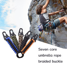 Outdoor Keychain Ring Camping Carabiner Military Paracord Cord Rope Camping Survival Emergency Knot Bottle Opener Key Chain