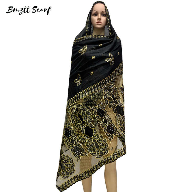 2020 Spring New African female Muslim scarf, fashion cotton stitching mesh scarf shawl, high quality large size 215 * 115 BF-025