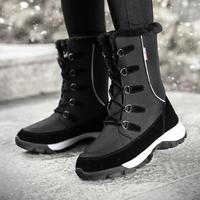Women Winter Boots 2019 new Fashion Waterproof Cloth Black Women Shoes Hot Warm Plush Shoes Women Mid calf Botas Booties