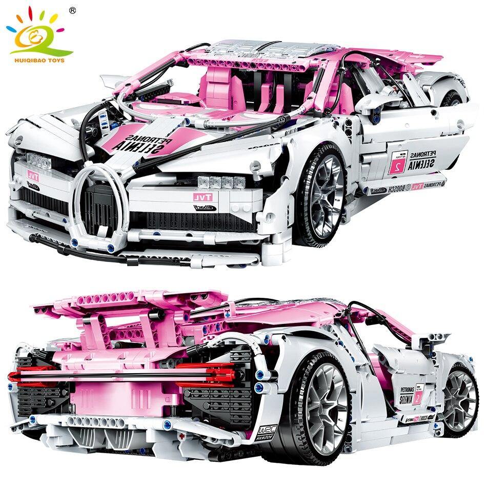 HUIQIBAO 3618PCS City Technic Racing Sports Car DIY Building Blocks Speed Champions Supercar 1:10 Toys Mini Bricks For Children