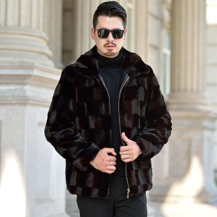 Risvolto Autunno visone del faux giacca di pelle mens di inverno addensare caldo cappotto di pelle pelliccia degli uomini di sottile giacche jaqueta de couro nero 964 - 5