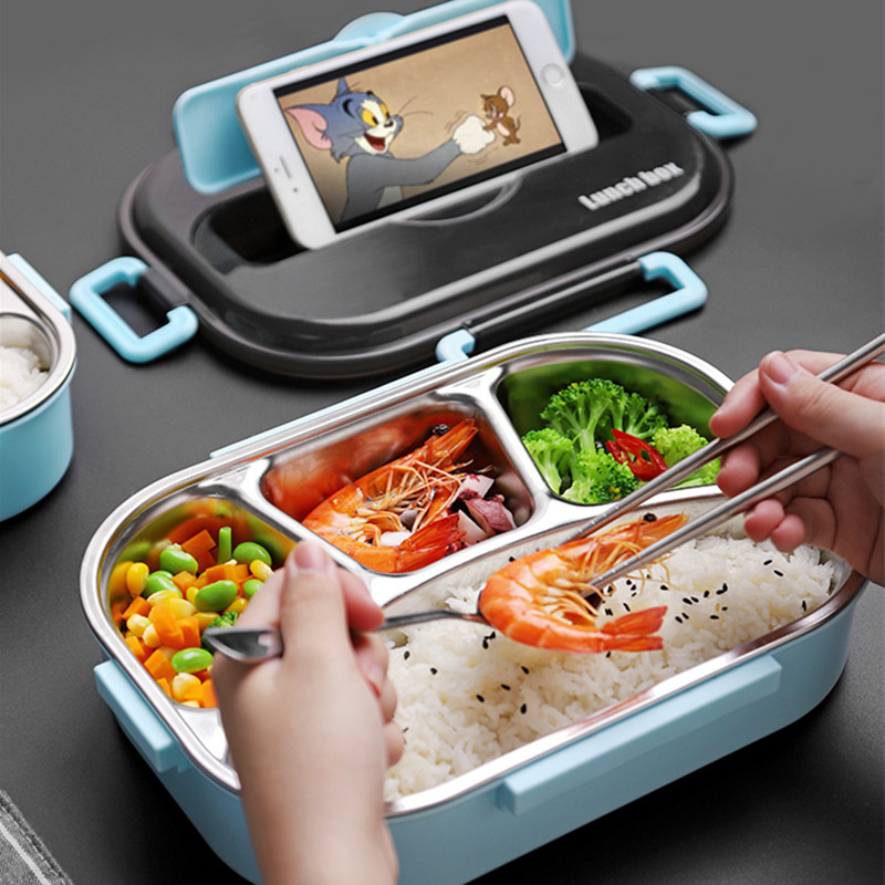 Image 4 - Bento Lunch Box Food Container for Child 304 Stainless Steel Box Kitchen Leak proof Food Container Send  Dinnerware Set-in Lunch Boxes from Home & Garden