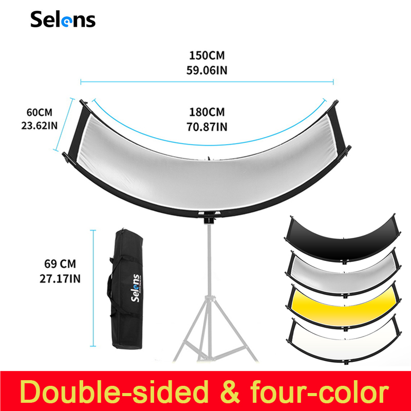 U-typed Reflector Flash Reflector Four-color Reflective Curved Reflector Portrait Headshot Sliver Black 90 Degree Photography