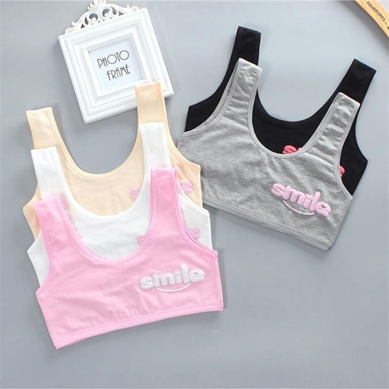 Teen Bra Girl Vest Cotton Spandex Big Girl's Sport 7-14 Years Adolescente Kids Underwear Letter Racerback Training 1 Piece