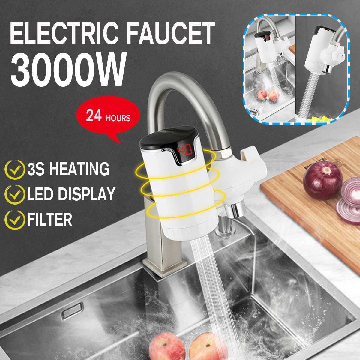 EU Plug 3000W 220V LED Display Tankless Electric Kitchen Water Heater Tap Fast Heating Hot Cold Warm Heaters