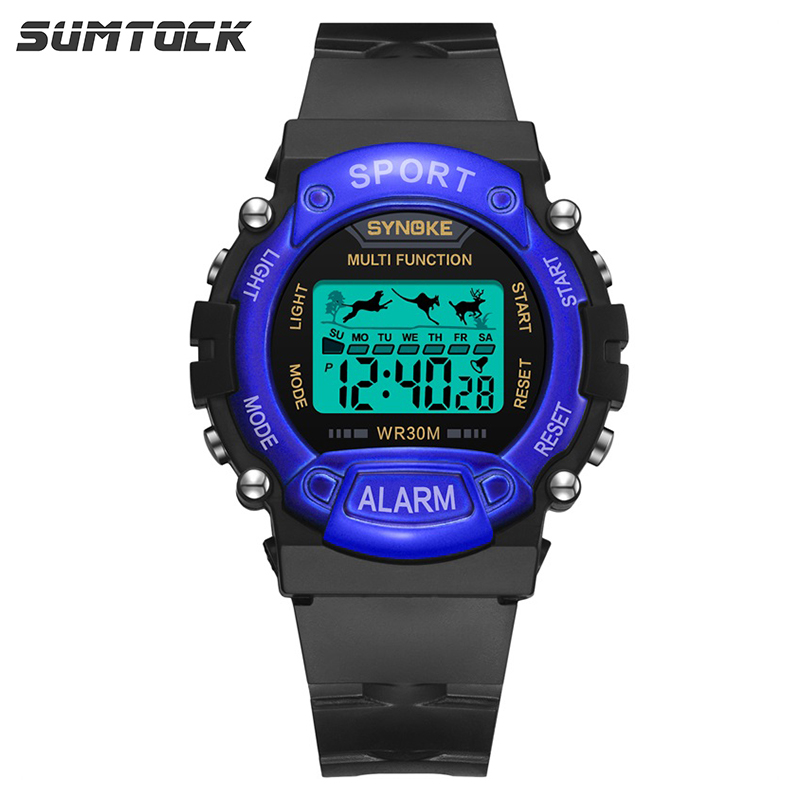SYNOKE Kids Digital Watches Children Lovely Sports Animal Jumping 3M Waterproof Wrist Watch Week Date Display Alarm For Student