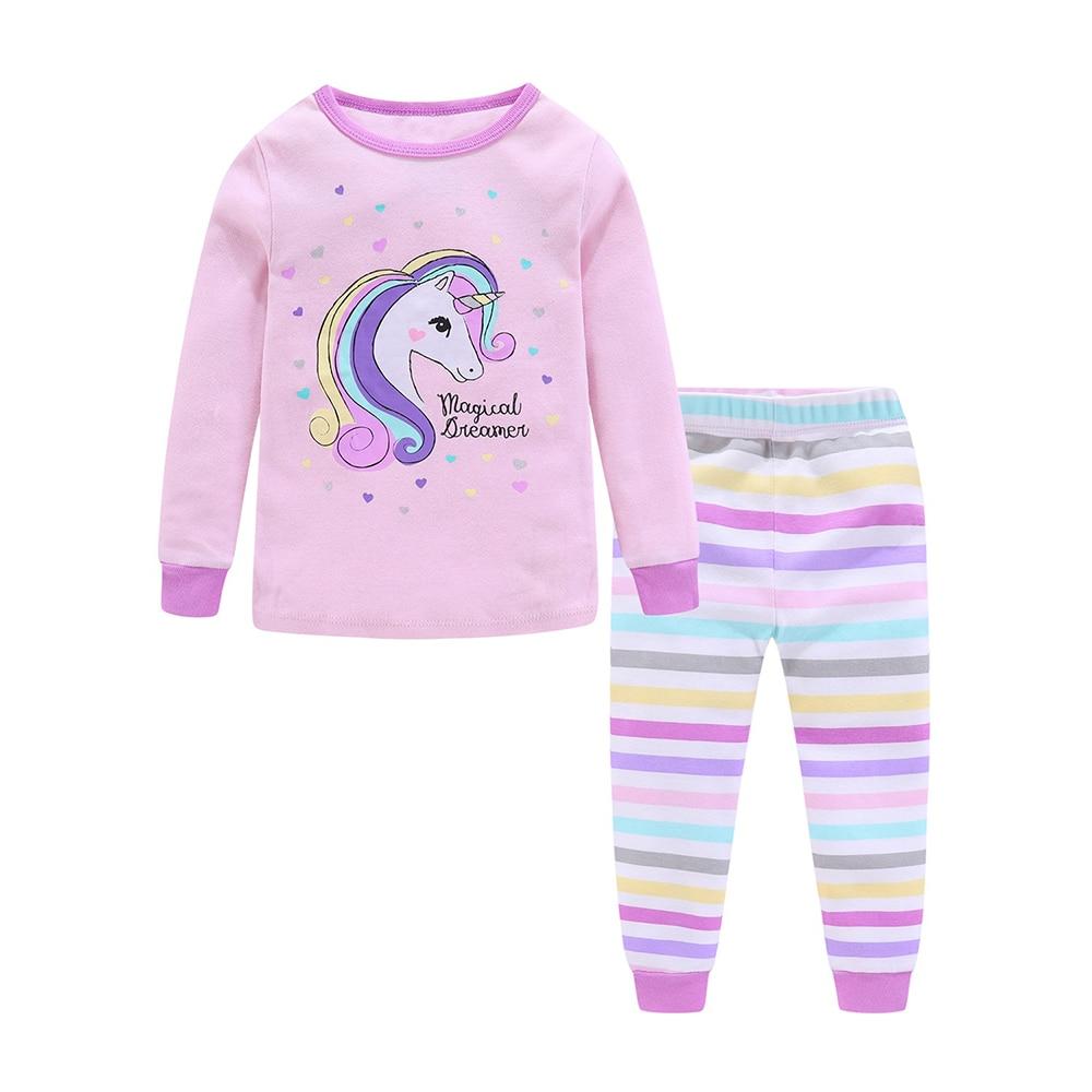 Mudkingdom Girls Boys Pajama Set Long Sleeve Cute Cartoon Printing Kids Sleepwear Home Set Children Clothes 2