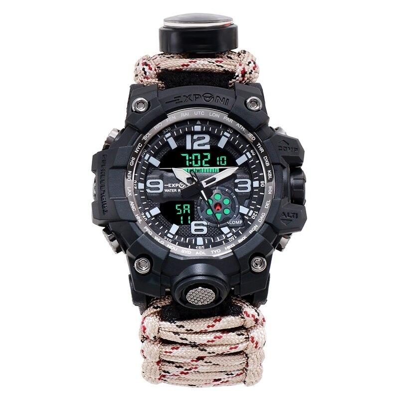 Outdoor Adventure Quartz Watch Men With Compass Fire Nylon Strap Electronic Dual Display Watch 50m Waterproof Mens Clock 2019
