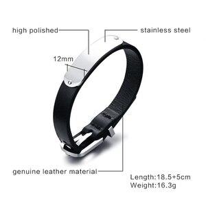 Image 5 - Vnox Mens Free Custom Engraving Name Love Date Inspirational Messages Black Genuine Leather Bracelets Bangles Size Adjustable
