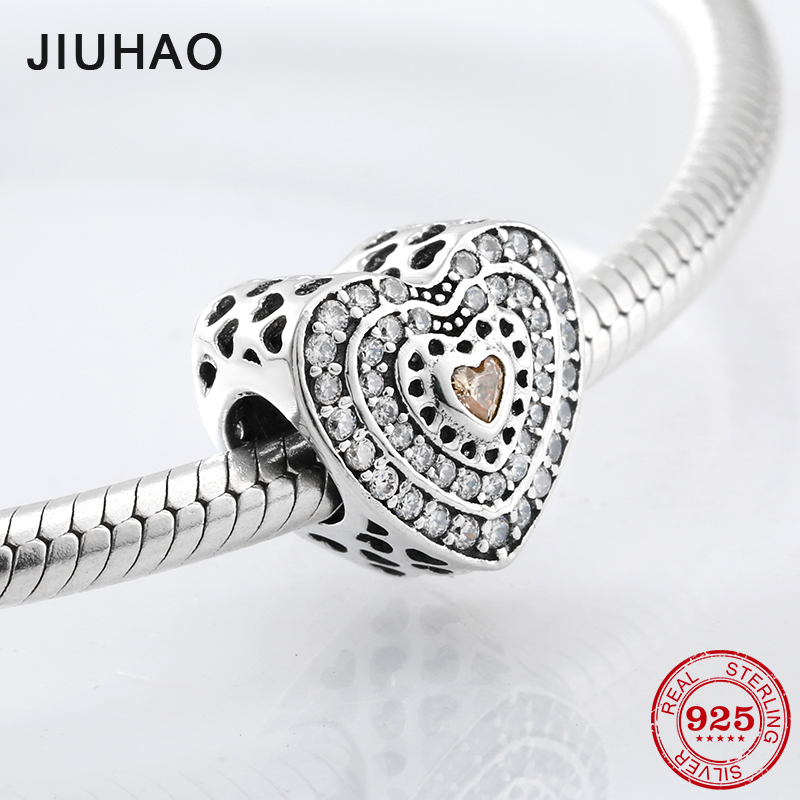 Fashion 925 Sterling Silver Two Heart Circles Pink CZ Beads Fit Original Pandora Charm Bracelet Jewelry Making