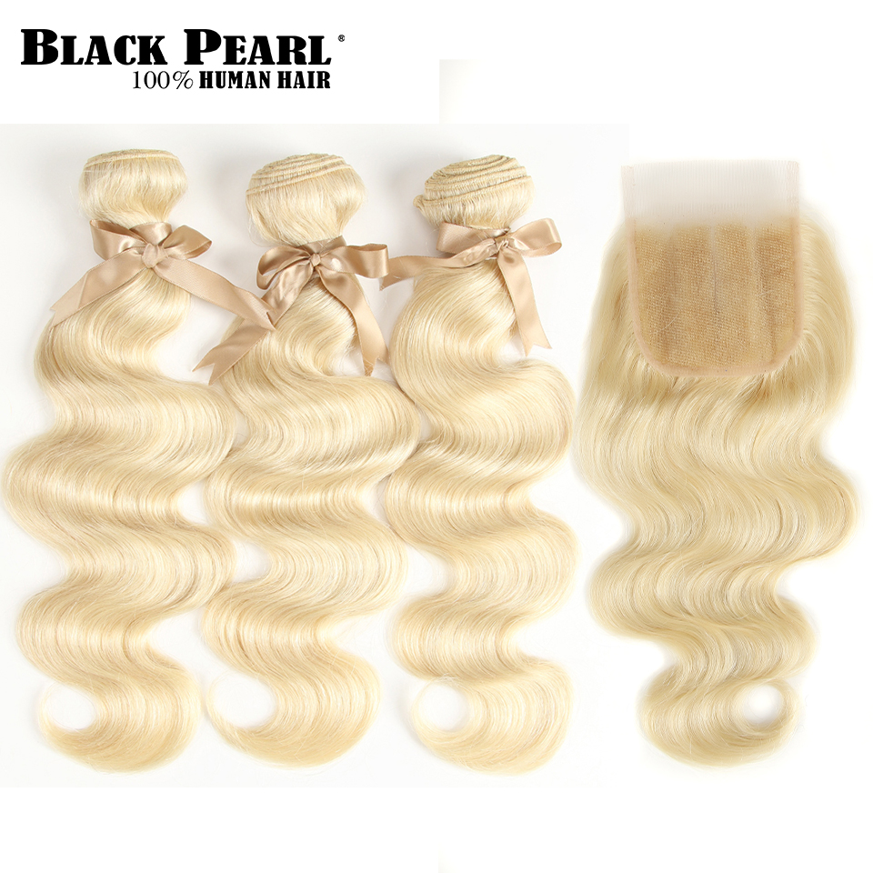 H0907dc3f31f84761a7cbf6c14cb0f18c0 Black Pearl 613 Blonde Bundles With Closure Malaysian Body Wave Remy Human Hair Weave Honey Blonde 613 Bundles With Closure