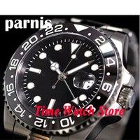 Parnis izle 40mm siyah kadran aydınlık GMT safir cam otomatik kendinden rüzgar hareketi erkek saati 343 relogio masculino