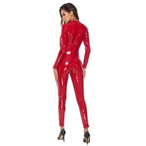 Image 3 - Sexy Latex Look Catsuit Faux Leather Cat Women Jumpsuits Bodysuit Long Sleeve Zip Open Crotch Romper Costume Plus Size