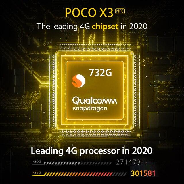 Global Version POCO X3 NFC 6GB RAM 64GB ROM Mobile Phone Snapdragon 732G 64MP Quad Camera 6.67 4