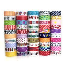 Kids 'DIY Papier Tape Papier Scrapbooking Kerst Cartoon Patroon Groen Materiaal Multi-kleur Sticker 1.5*500 cm School levert(China)