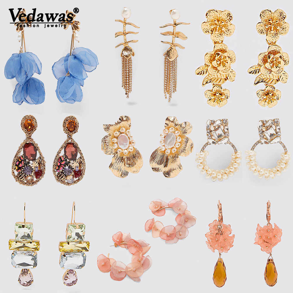 Vedawas ZA New Arrival 31 Style Earrings Flower Drop Earrings for Women Vintage Hanging Pearls Metal Pendant Earrings Jewelry