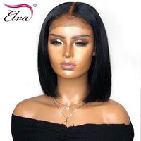 13x6 Lace Front Human Hair Wigs Elva Bob Wig Short Lace Front Wigs For Black Women Remy Hair Bob Wig Pre Plucked With Baby Hair