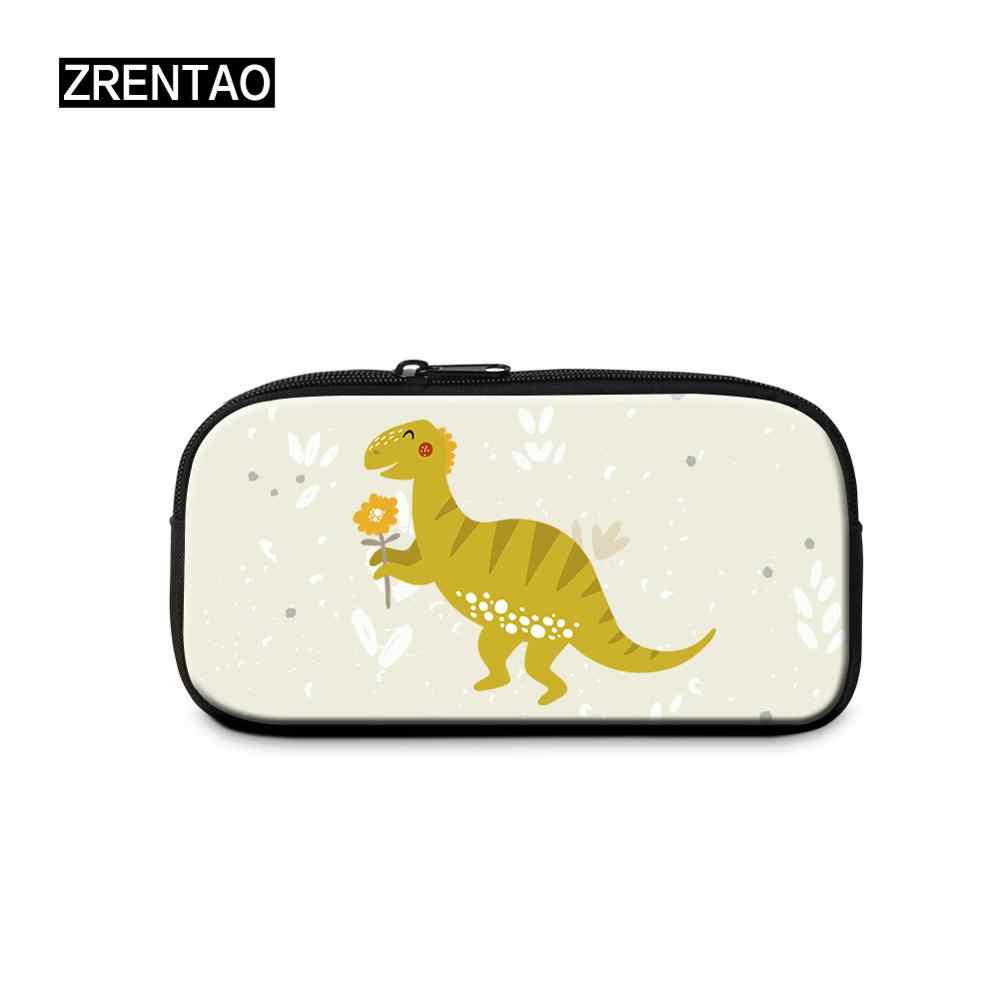 Yellow/Red/Pink/Grey Cute Cartoon Dinosaur Print Kindergarten Babies Child Pencil Bag Case Zippered Pen Cosmetic Makeup Holders