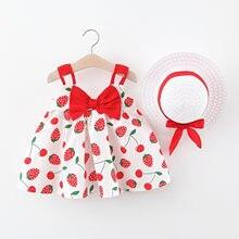 Owoce drukuj dziewczyny sukienki na co dzień maluch dziecko dzieci dziewczyny lato pasek sukienka księżniczka sukienki na co dzień sukienka dziecko
