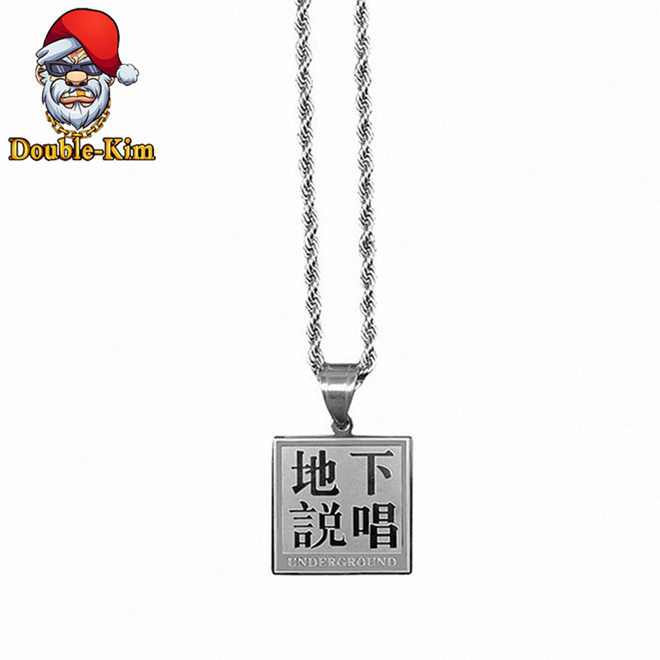 Underground Rapper Pendant Necklace Men Titanium Stainless Steel Material Classic Chain Necklaces Men Fashion Trendy Jewelry image
