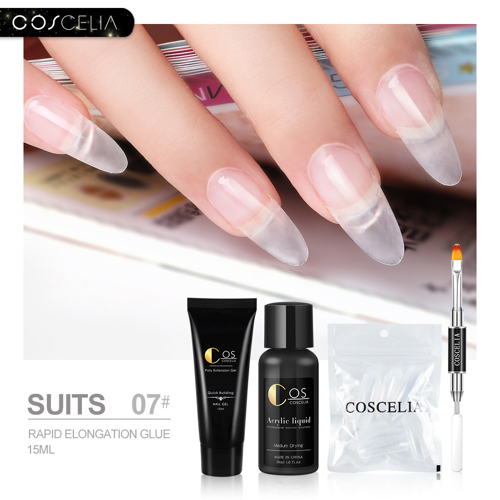 COSCELIA Acrylic Gel Set Finger Poly Gel UV Builder Extension Nail Art Kit Poly Gel Fast Clear Nail Extension Gel Nail Forms