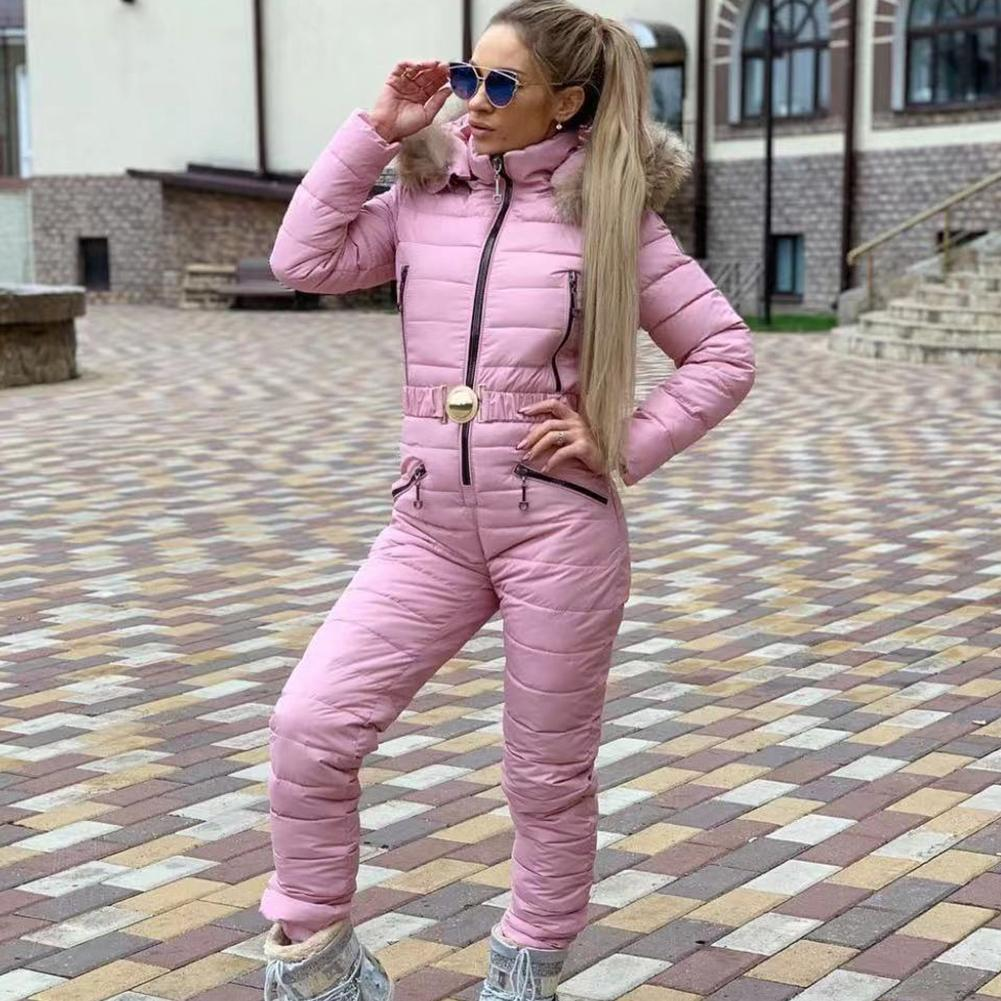 Winter Hooded Jumpsuits Elegant Cotton Padded Warm Ski Suit Straight Zipper Women Casual Tracksuits High Quality Winter Outwear