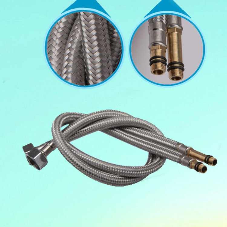 Qi Ultra-4 Points Stainless Steel Wire Weaving Single Bore Hot And Cold Faucet Water Inlet Cai Pen Guan Jian Guan Influent
